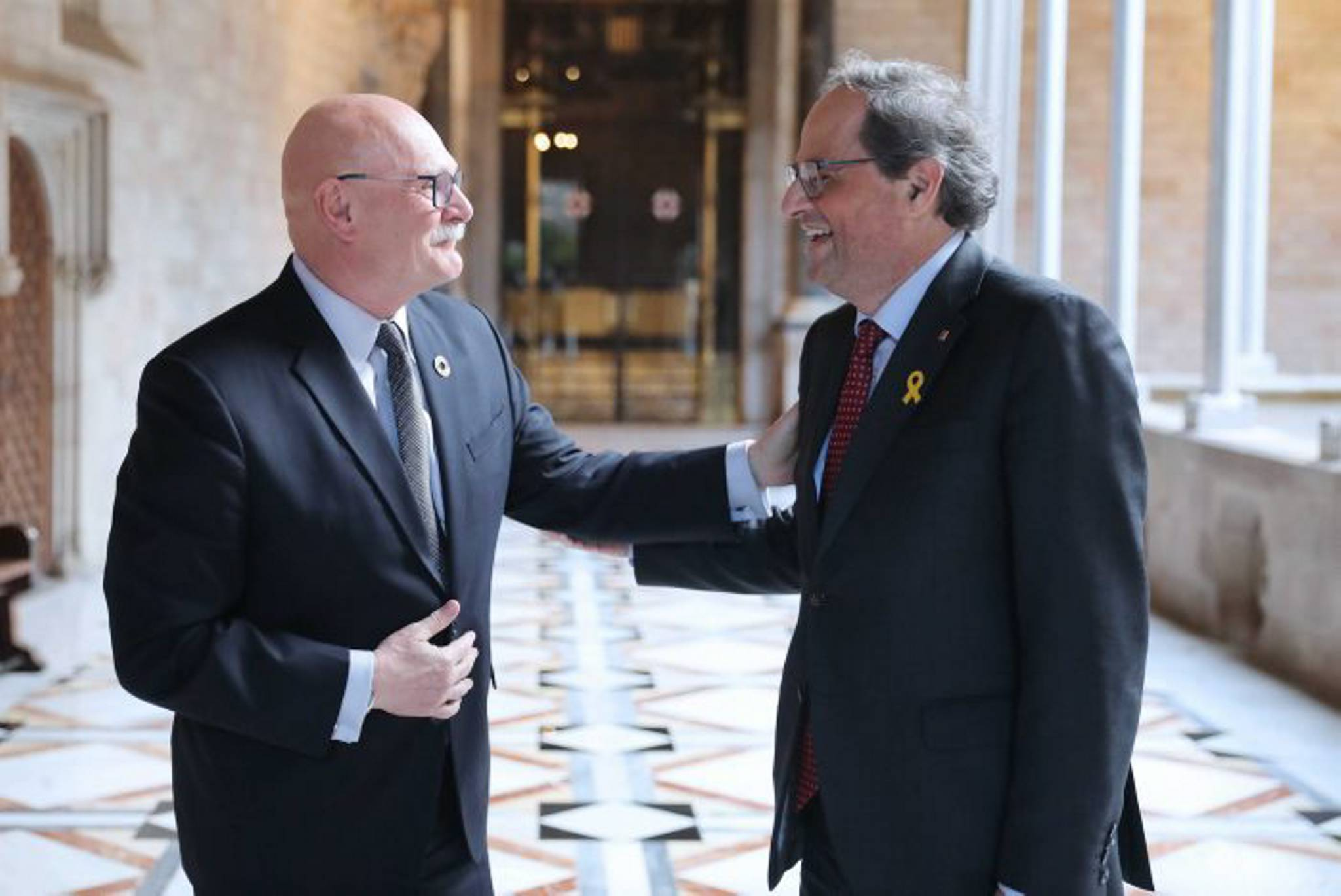 President Torra with GSMA chief executive John Hoffman at the Palau de la Generalitat