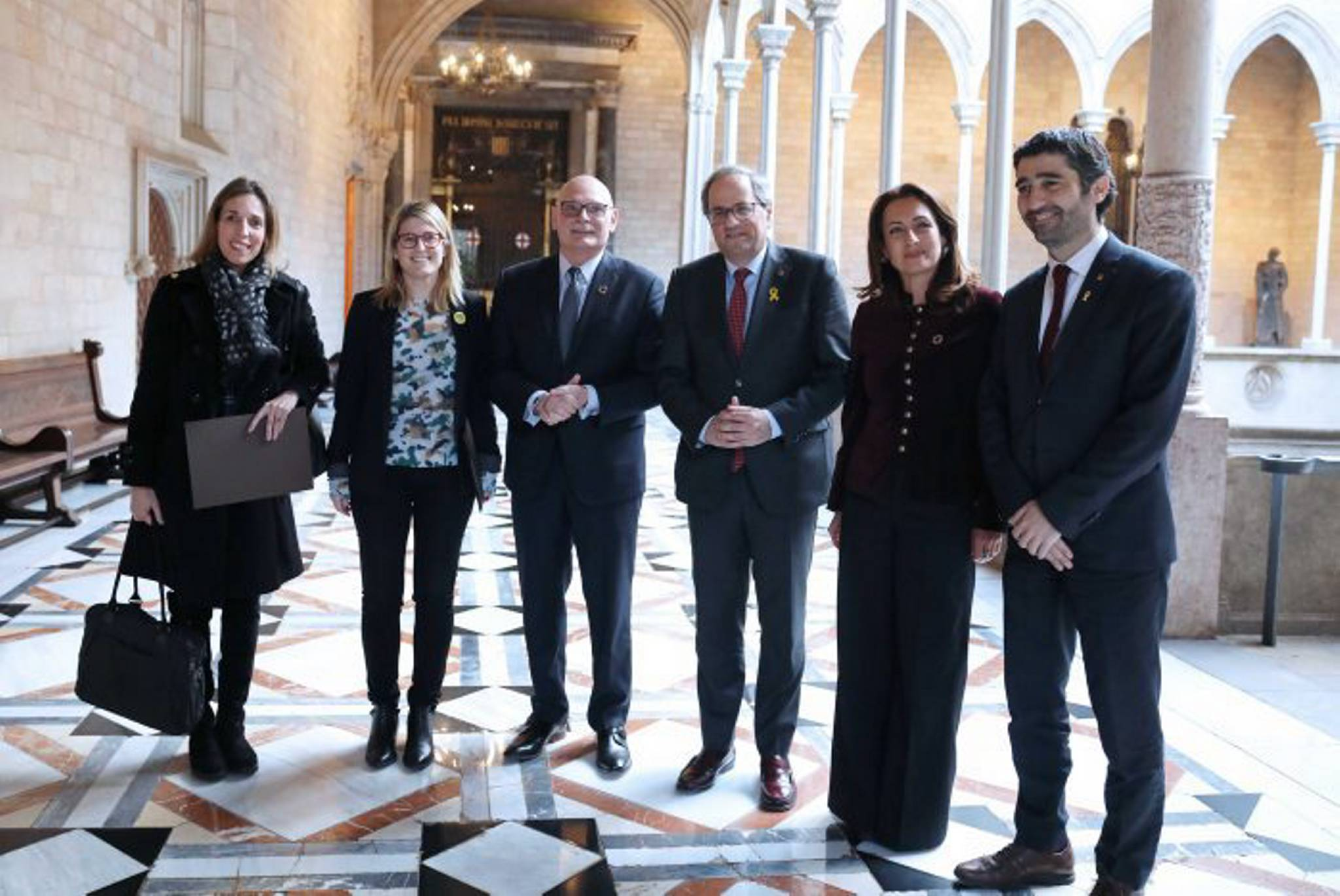President Torra and ministers Artadi, Chacón and Puigneró with GSMA's top managers