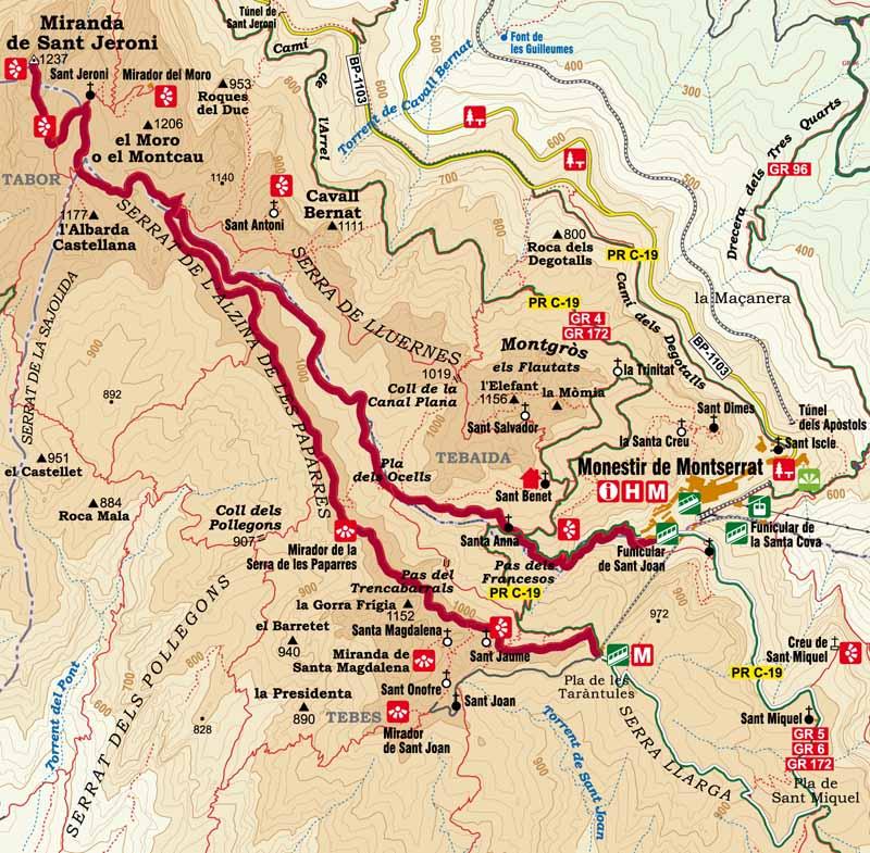 Monastery To Sant Jeroni - Montserrat map